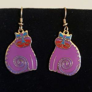 "Vintage Laurel Burch ""Mythical Cat"" earrings"